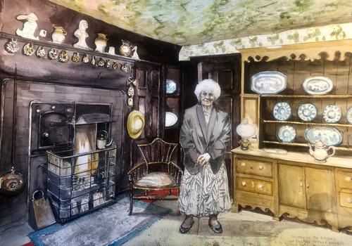 Dorothy Brown in Beatrix Potter's kitchen