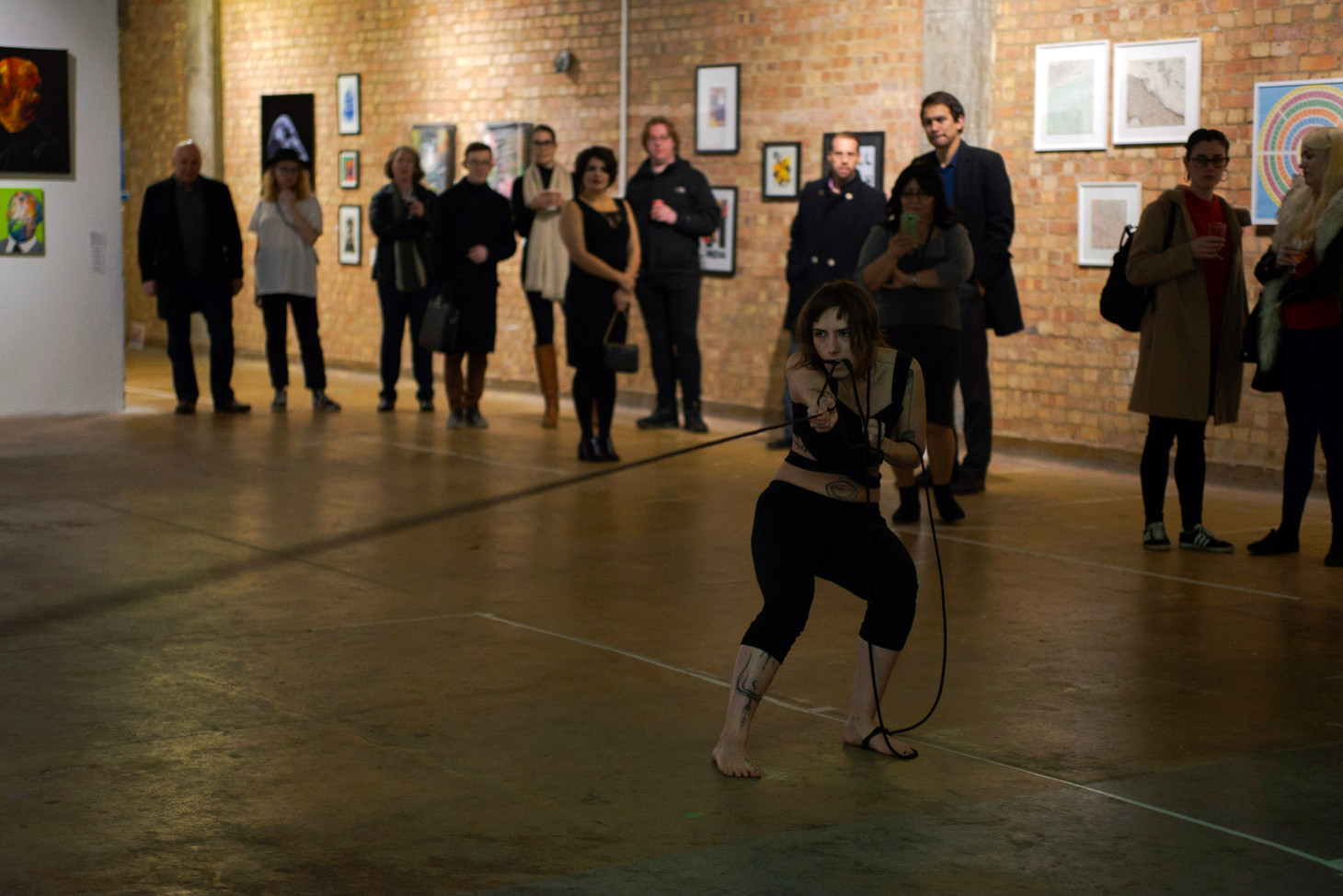 "Performing at the Old Biscuit Factory, the opening of ""Vicious Circle"" exhibition by Art Number 23, 6th of December, 2019.    Sound for performance created by the manipulation of rope, using contact mics, reverb/delay/distortion pedals and basic amplification."