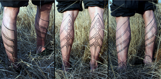 Tribal calf motif - linework