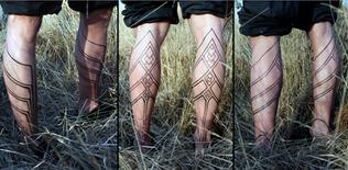 Tribal calf motif - linework