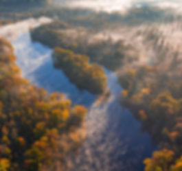 Ariel view of the misty St. Croix River