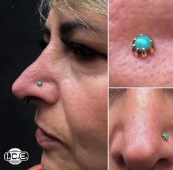Nose Piercing / Ouro Amarelo / Turquesa