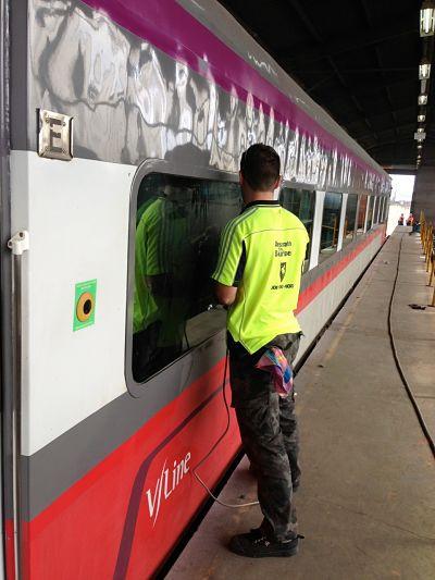Graffiti Removal Outside V/Line Train