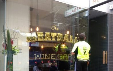 Anti-Graffiti Film Applied to The MeatBall & Wine Bar after Scratch Removal