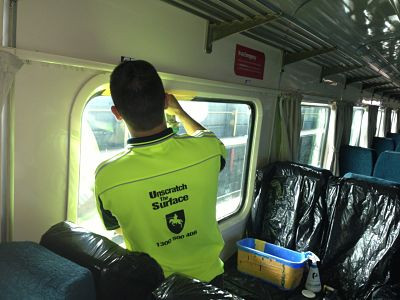 Graffiti Removal inside V/Line Train