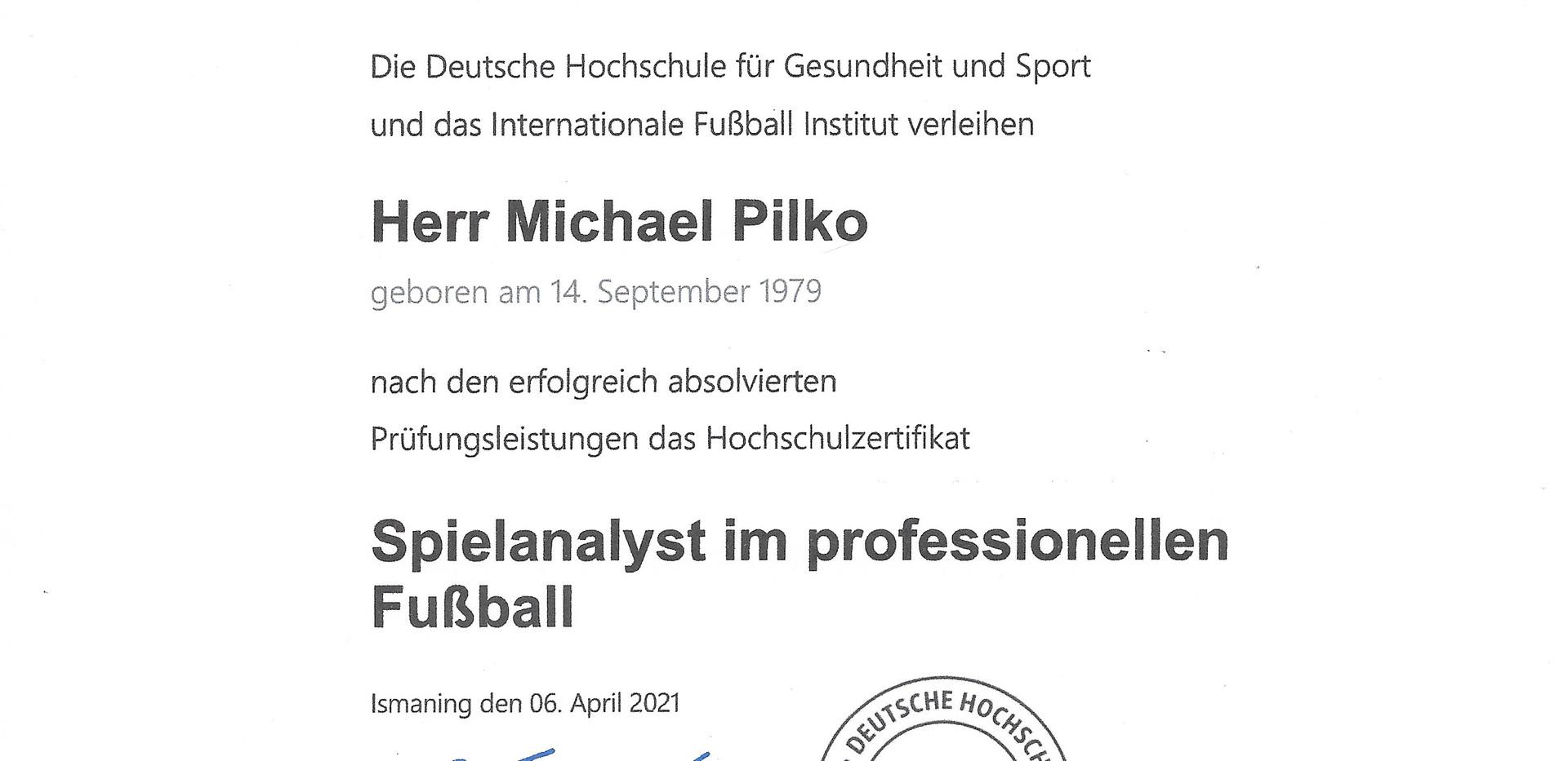 Spielanalyst im professionellen Fußball_