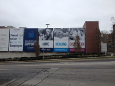 Pole pocket banners that were printed on our large format digital press and installed by our Category 5 install team!