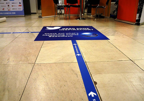 These floor graphics were printed on our large format digital presses and are made with anti-slip material for customer safety!  These can be installed for you by our own install team!