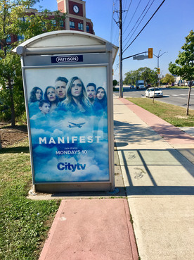 A bus shelter that was digitally printed on our large format digital press.
