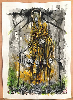 'The Return Of Baldr' Original ink and Gouache artwork on paper. 33.5x46 cm