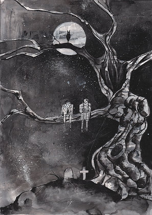 PRINT: Dead Kids Up A Tree black and white