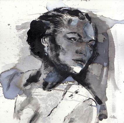 Eartha Kitt original artwork 14x14cm