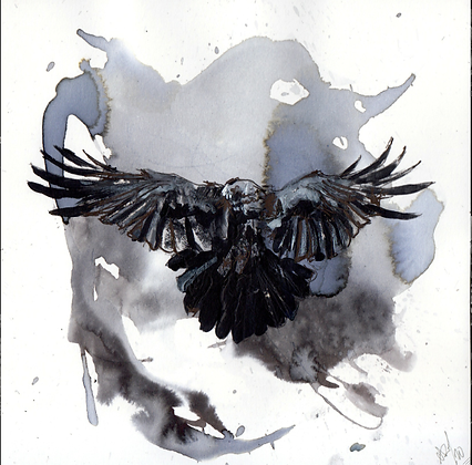 Small corvid 31: Raven    14 x14 cm