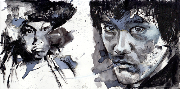 Young and older Bruce Lee double portrait