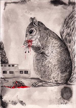PRINT: Squirrel Eats Kids A3. 29.7 x 42 cm (11.7 x 16.5 inches)