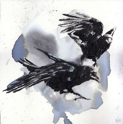 Small Corvid 39 Watercolour and acrylic on thick paper 14x14cm