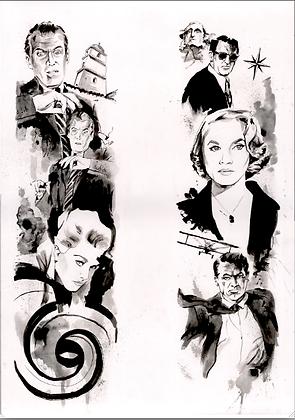 ORIGINAL: Alfred Hitchcock 'North by Northwest/Vertigo' hand painted artwork A1
