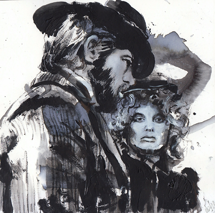 McCabe and Mrs. Miller watercolour and acrylic on thick paper 14x14cm