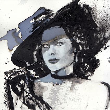 Hedy Lamarr original artwork 14x14cm