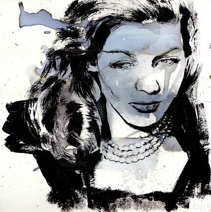 Lauren Bacall original artwork 14x14cm