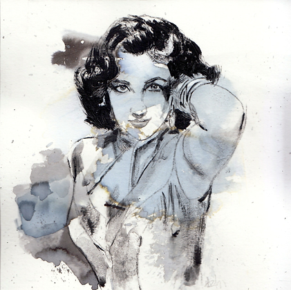 Elizabeth Taylor original artwork 14x14cm