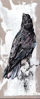 Long Corvid 1  original artwork    8.6x20.8cm x 2mm