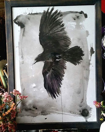 PRINT: Finger Painted Raven A3. 29.7 x 42 cm (11.7 x 16.5 inches)