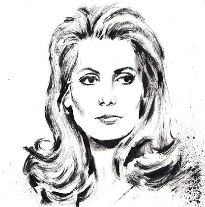 Catherine Deneuve original artwork 14x14cm