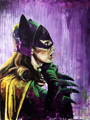 ORIGINAL: Batgirl In Green Light. Spraypaint, oil and acrylic on canv 71 x 91 cm