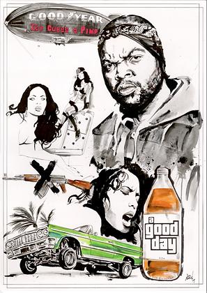 ORIGINAL: 'Ice Cube' A1. 59.4 x 84.1 cm (23.4 x 33.1.inches)