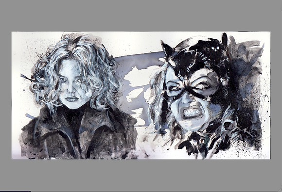 Catwoman double portrait in watercolour and acrylic on thick paper 28x14cm