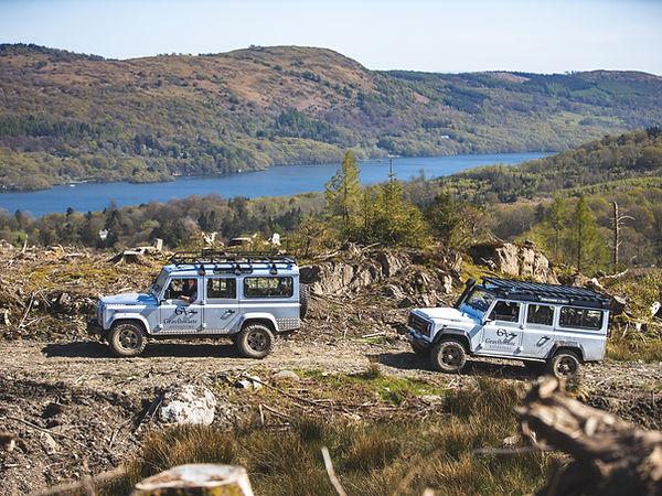 Graythwaite Adventure - Land Rovers, lake view.jpg