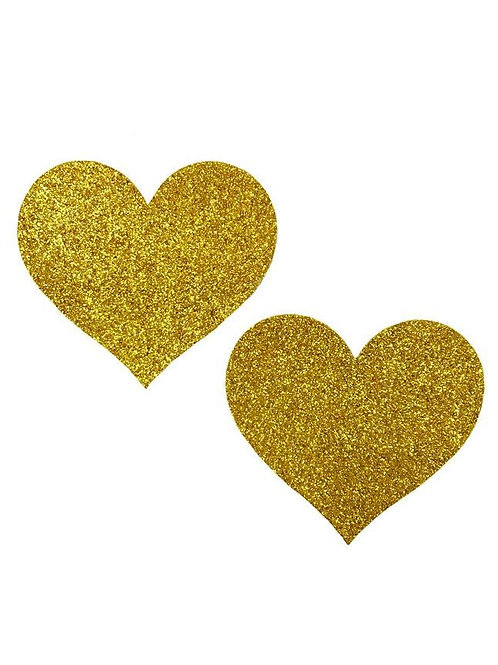 Gold Glitter Hearts Pasties / Nipple Covers