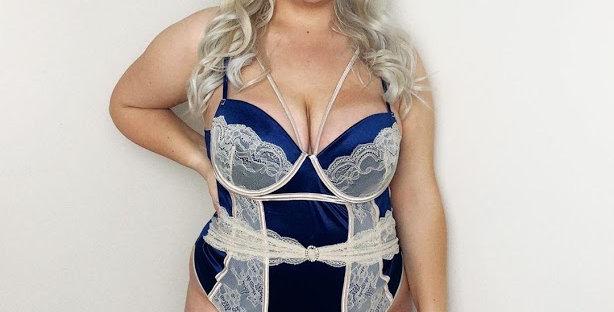 DUCHESS Cobalt Blue / Cream Satin & Lace Bodysuit