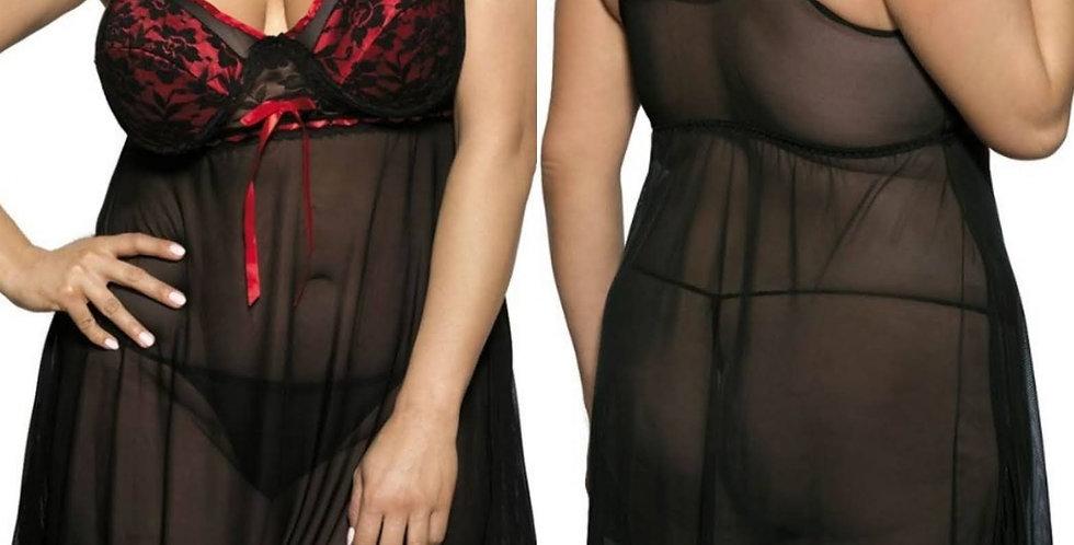 DAMSEL Sheer Black Chiffon Babydoll & Thong Set ~ Red Detailing }~ Up to a UK 26