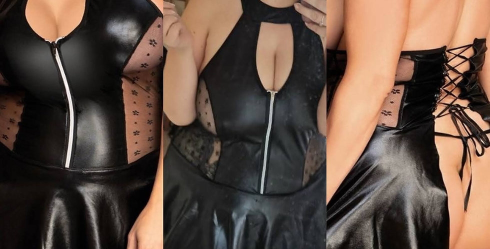 SABRINA Leather Look Sheer Panel Zip Front Corset Dress / Peplum Top ~ Black