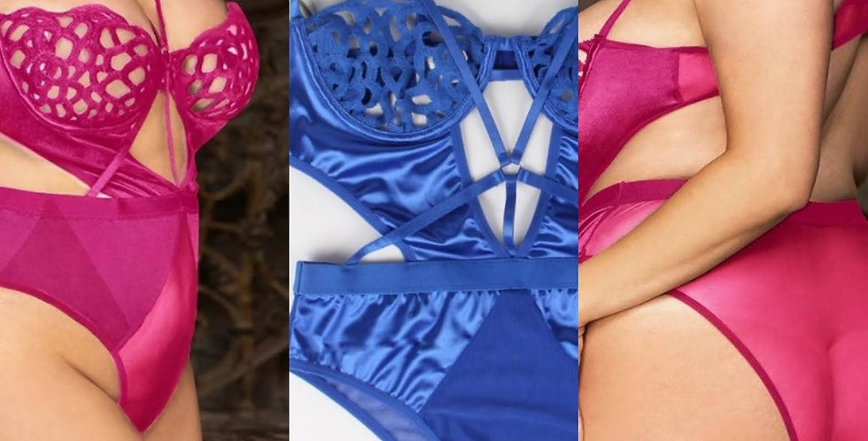 LOVE ME Cut Out Teddy ~Fuscia Pink or Electric Blue