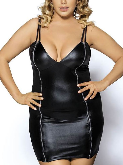 DINAH Leather Look Bodycon Zip Dress