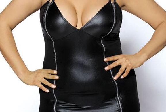 DINAH Leather Look Bodycon Zip Dress