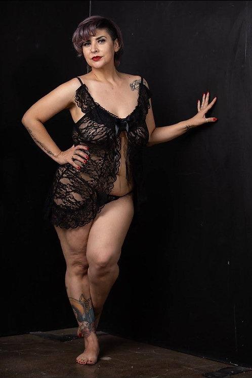 FUN TIMES black lace cami set