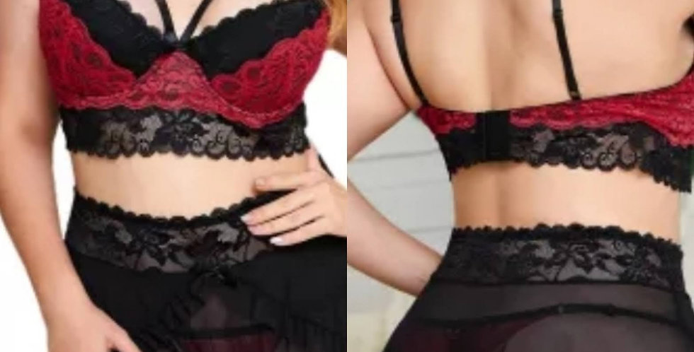 Gorgeous Amour 3 Piece Bralette Set with Sheer Skirt Size 14 - 30