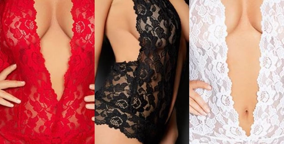 LACEY Plunge Front Lace Teddy / Body Red / Black / White