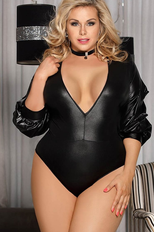 SEDUCTIVE Black Leather Look Full SleeveBodysuit