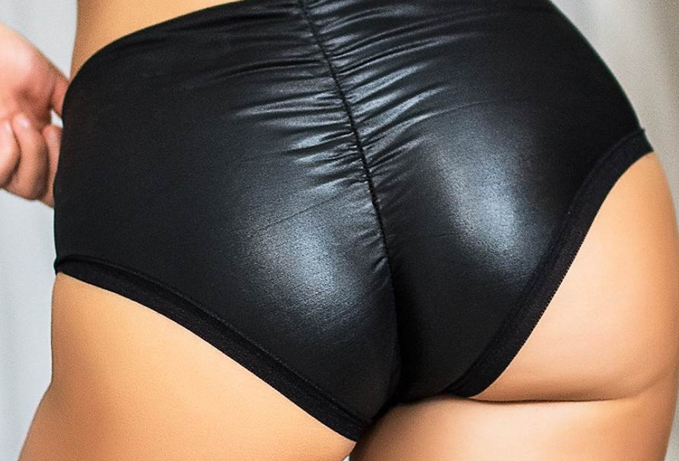 Leather Look Ruched back Lifting Knickers