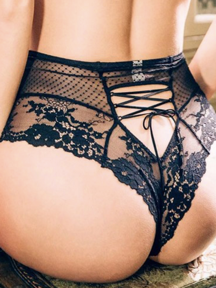 Lace High Cut Knickers with Corset Lacing back