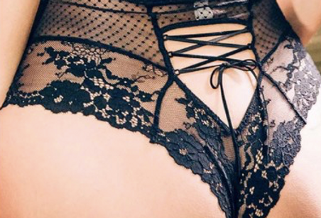 Sheer Black Lace High Cut Knickers with Corset Lacing back