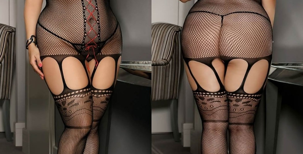 CARRIE  Mock Corset Fishnet Cut Out Bodystocking