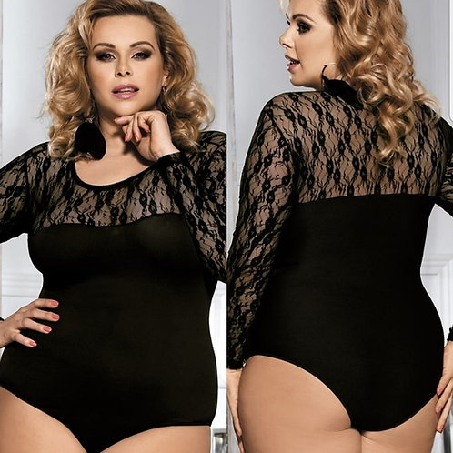 Black Lace Long Sleeved Bodysuit - SALE