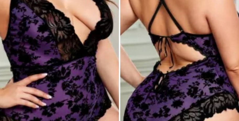 PAOLA Plunging Bodysuit /Teddy Size 14 - 30 - Purple or Red