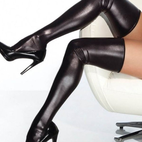 FINALLY Black Leather Look Stockings / Hose